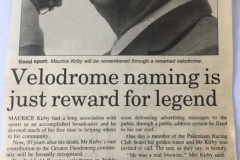 Maurice Kirby: Velodrome Naming Is Just Reward For Legend: 2001