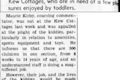Maurie Kirby:  call for assistance for Kew Cottages Children: 1951