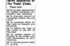 The seven objectives of the Pedal Clubs: 1954