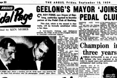 The Argus: Geelong Mayor Joins the Pedal Club: 1954