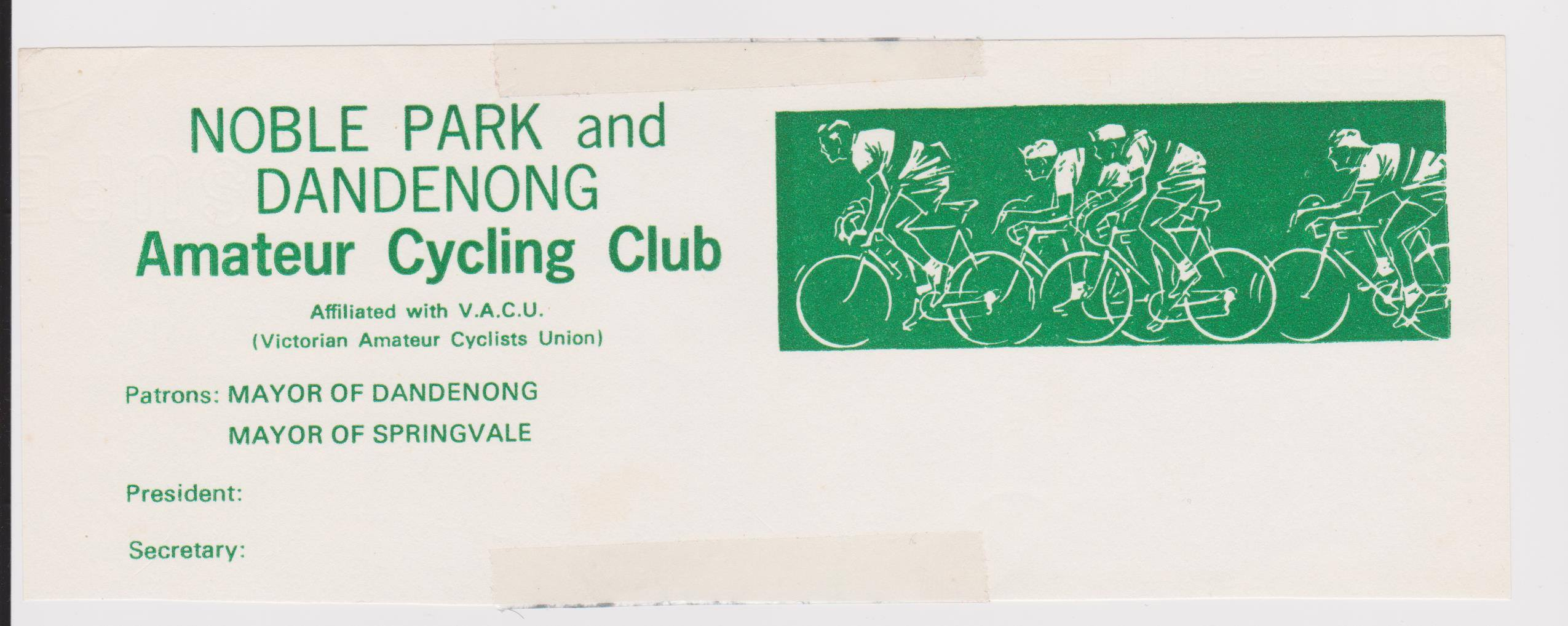 Noble Park and Dandenong Amateur Cycling Club Letterhead